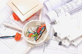 stock photo of electrical engineering  - Components for use in installations and electrical diagrams copper wire connections in electrical box accessories for engineering work energy concept - JPG