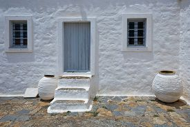 picture of hydra  - Architectonic details and pottery in a monastery on Hydra island - JPG