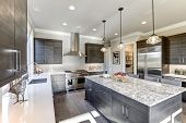 Modern Gray Kitchen Features Dark Gray Flat Front Cabinets poster