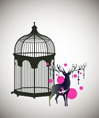 reindeer and decorative birdcage