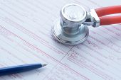 Health Insurance Claim Form With Pen And Stethoscope poster