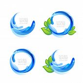 Set Of Vector Logo, Icon Design Elements With Natural Clean Water Drops And Green Leaves. poster