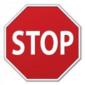 Постер, плакат: Вектор движения знак остановки на белом фоне