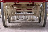 foto of clydesdale  - Shot of the hooves of a line of clydesdales from behind and under a wagon - JPG