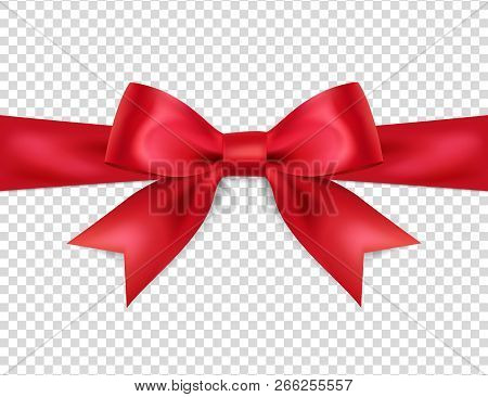 poster of Beautiful Red Bow Isolated On Transparent Background, Satin Bow For Gift, Surprise, Christmas Presen