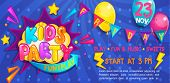 Wide Cute Kids Party Banner In Cartoon Style With Balloons, Flags And Boom Frame.birthday Party, Pla poster