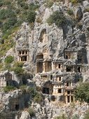 Ancient necropolis in Myra, Turkey