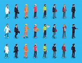 People Professions Characters Isometric, Vector Men In Varied Clothing, Doctor Policeman And Fireman poster