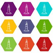 Burnt Candle Icons 9 Set Coloful Isolated On White For Web poster