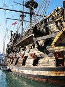 Old Spanish galleon in the port of Genoa