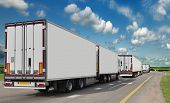 Container on the big highway. transport loads. Heavy traffic freight trailers on the highway. Cargo  poster