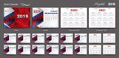 Set Desk Calendar 2019 Template Design Vector, Calendar 2020,2021, 2022, 2023, Cover Design, Set Of  poster