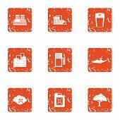 Chemical Enterprise Icons Set. Grunge Set Of 9 Chemical Enterprise Icons For Web Isolated On White B poster