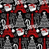 Lettering Paris And Eiffel Tower. Seamless Pattern Merry Christmas And Happy New Year Fashion Sketch poster