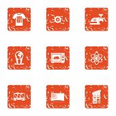 Chemical Effect Icons Set. Grunge Set Of 9 Chemical Effect Icons For Web Isolated On White Backgroun poster