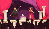 Opera Theater Scene Flat Cartoon Poster With 2 Singers Aria Onstage Performance And Audience Silhoue poster