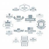 Building Materials Logo Icons Set. Simple Illustration Of 16 Building Materials Logo Icons For Web poster