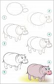 Page Shows How To Learn Step By Step To Draw A Smiling Hippo. Developing Children Skills For Drawing poster