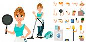 Happy Housewife. Cheerful Mother, Beautiful Woman. Cartoon Character Creation Set. Pack Of Body Part poster