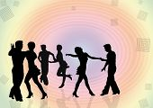 stock photo of jive  - Background with black silhouettes of the young people dancing in a disco - JPG