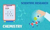 Chemistry Scientific Research Concept Banner. Flat Illustration Of Chemistry Scientific Research Vec poster