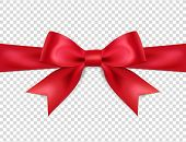 Beautiful Red Bow Isolated On Transparent Background, Satin Bow For Gift, Surprise, Christmas Presen poster
