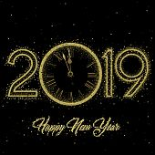 Gold Clock With Roman Numerals On A Circular Ring Disco Clock With New Year Numerals 2019 On A Black poster