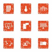 Knowledge Folder Icons Set. Grunge Set Of 9 Knowledge Folder Vector Icons For Web Isolated On White  poster