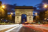 Arc De Triomphe In Paris Seen At Night. Paris, Ile-de-france, France. poster