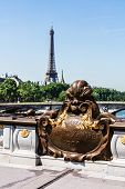 Details Of The Famous Pont Alexandre Iii Bridge In Central Paris With Eiffel Tower In The Distance.  poster