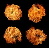 High resolution fire explosion isolated on black background