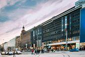 Helsinki, Finland. Shopping Center On Mannerheimintie Or Mannerheim Avenue In Winter Day. poster