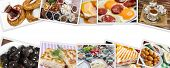 Traditional Delicious Turkish Breakfast Collage. Travel Concept: Setup With Traditional Turkish Brea poster