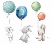 Little Cute Hares Collection Fly With Balloon. poster