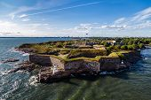 Suomenlinna Is The Fortress Outside Helsinki, Here On A Summer Day With The City Seen In The Backgro poster