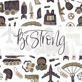 Be Strong. Military And Army Flat Hand Drawn Card With Tank, Parachute, Helmet, Gas Mask, Aircraft,  poster