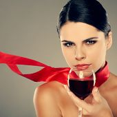 image of young girls  - beautiful young girl  with  glass of wine - JPG