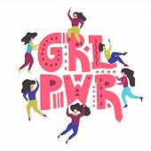 Small Women With Big Letters grl Pwr (girl Power). Feminist Conceptual Illustration In A Hand-draw poster