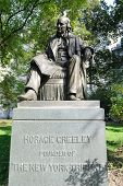 A memorial dedicated to Horace Greeley, the founder of the New York Tribune, in New York CIty.