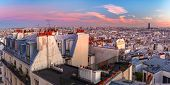 Aerial Panoramic View From Montmartre Over Paris Roofs At Nice Sunrise, Paris, France poster
