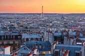 Aerial Panoramic View From Montmartre Over Paris Roofs And Eiffel Tower At Nice Sunrise, Paris, Fran poster