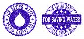 Grunge For Saving Water Stamp Seal Imprints. For Saving Water Text Inside Blue Unclean Rubber Seals  poster