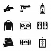 Street Rap Icon Set. Simple Set Of 9 Street Rap Icons For Web Design On White Background poster