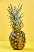 Pineapple On Yellow Background, Front View. Ripe Healthy Ananas Fruit On Colorful Background, Vertic poster