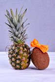 Stylish Pineapple And Coconut On Grey Background. Studio Shot Of Hawaiian Ananas And Cocos On Light  poster