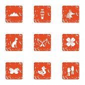 Feline Icons Set. Grunge Set Of 9 Feline Icons For Web Isolated On White Background poster