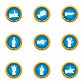Bodily Movement Icons Set. Flat Set Of 9 Bodily Movement Icons For Web Isolated On White Background poster