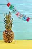 Organic Pineapple With Eyeglasses On Color Background. Healthy Ripe Ananas And Multicolored Letterin poster