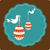 picture of pasqua  - Easter greeting card with decorative eggs and birds - JPG