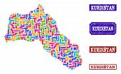 Mosaic Brick Style Map Of Kurdistan And Scratched Rectangle Seals. Vector Map Of Kurdistan Designed  poster